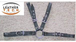 MEN COWHIDE LEATHER CHEST HARNESS BUCKLES