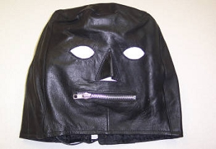 LEATHER FULL FACE MASK ZIPPER